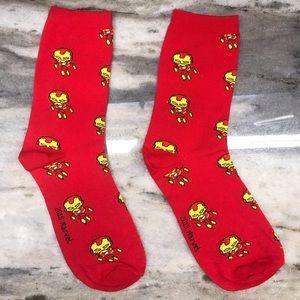 Bright Red Iron Man Socks Marvel